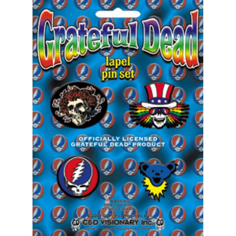 Grateful Dead Rubber And Metal Lapel Pin Set