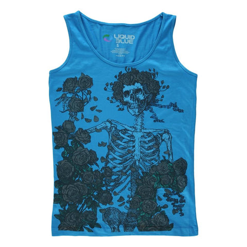 Grateful Dead Skeleton & Roses Women's Tapered Tank T-Shirt