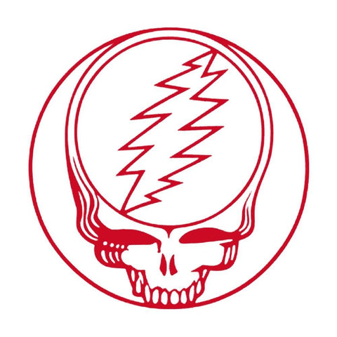 Grateful Dead Steal Your Face Rub On Sticker - Red