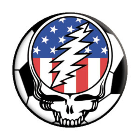 Grateful Dead US Flag-Soccer Steal Your Face Button