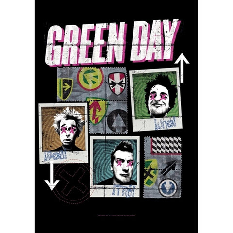 Green Day Uno Dos Tre Fabric Poster