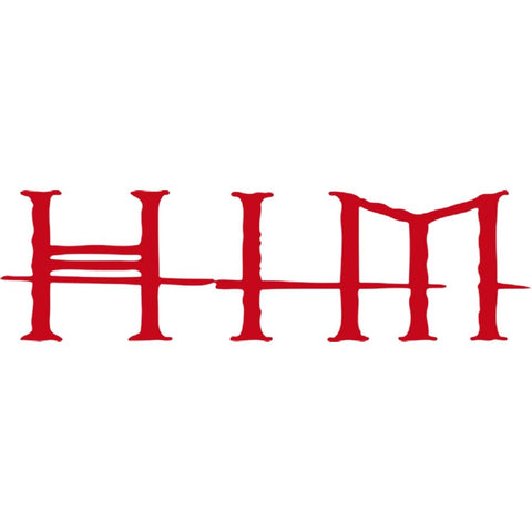 HIM Logo Crossed Lines Rub-On Sticker - Red