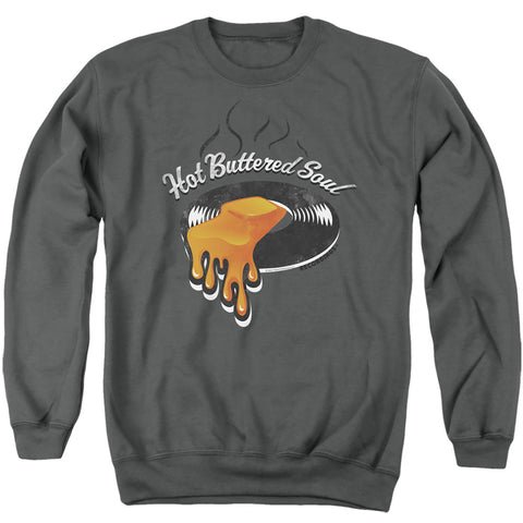 Isaac Hayes Hot Butter Soul Logo Men's Crewneck 50 50 Poly LS T