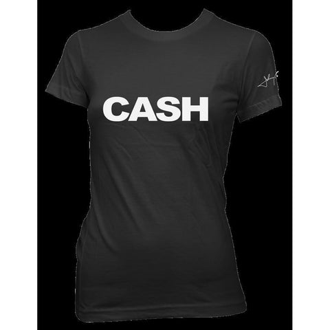 Johnny Cash Cash Block Logo Women's Black T-Shirt