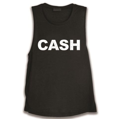 Johnny Cash Cash Faded Women's Black Tank T-Shirt