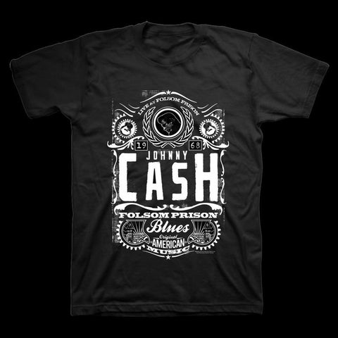 Johnny Cash Live at Folsom Prison Men's Black T-Shirt