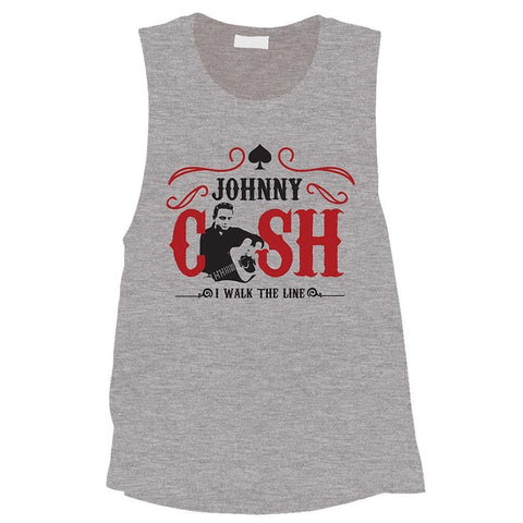 Johnny Cash Walk The Line Heather Men's Tank T-Shirt