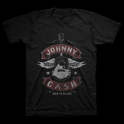 Johnny Cash Winged Men's Black Guitar T-Shirt