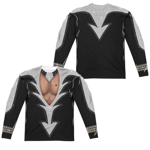KISS Special Order Catman Costume (Front/Back Print) Men's Regular Fit 100% Polyester Long-Sleeve T-Shirt