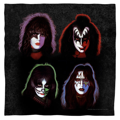 KISS Special Order Solo Heads 100% Polyester Bandana - 21 x 21 inches - 1-Sided
