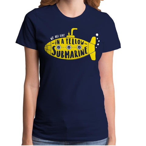 Beatles Lennon/McCartney Lyrics Yellow Submarine Junior's Navy Junior's Crew T-Shirt