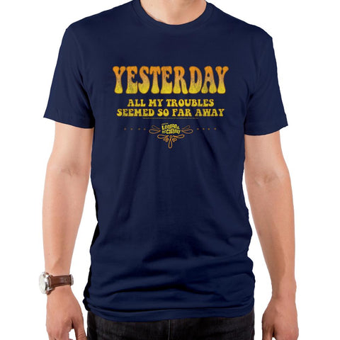 Beatles Lennon/McCartney Lyrics Yesterday Men's Navy Men's Crew T-Shirt