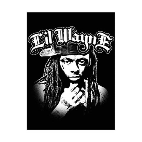 Lil Wayne Black & White Fabric Poster
