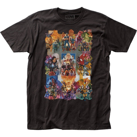 Marvel Comics Painted Collage Fitted Jersey Tee