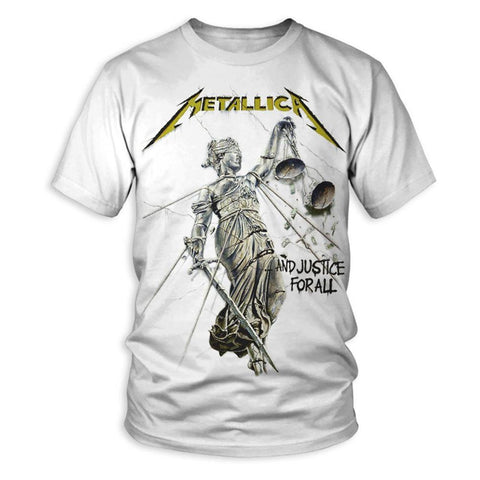 Metallica àAnd Justice for All Album Cover Men's White T-Shirt