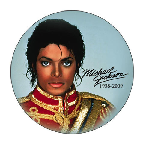 Michael Jackson Red Band Jacket Blue Background Button