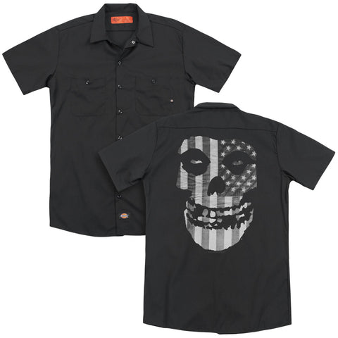 Misfits Special Order Fiend Flag (Back Print) Men's 35% Cotton 65% Poly Short-Sleeve Work Shirt