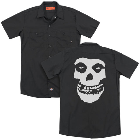 Misfits Special Order Fiend Skull (Back Print) Men's 35% Cotton 65% Poly Short-Sleeve Work Shirt