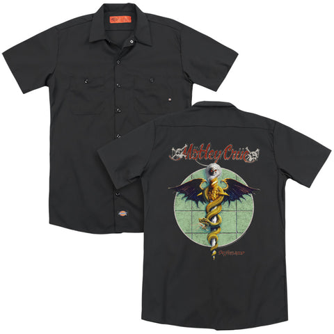 Motley Crue Dr Feelgood (Back Print) Men's Cotton Poly SS Work Shirt