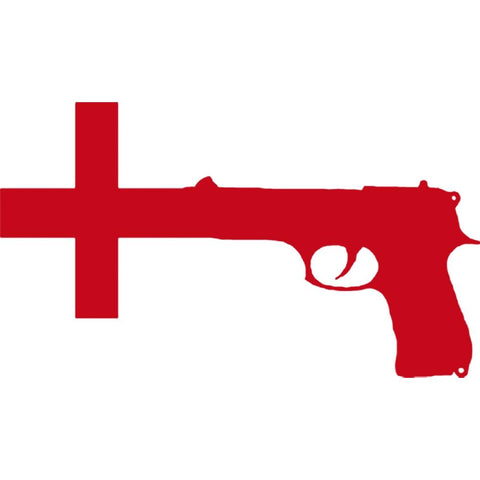 Nine Inch Nails Gun Cross Rub-On Sticker - Red
