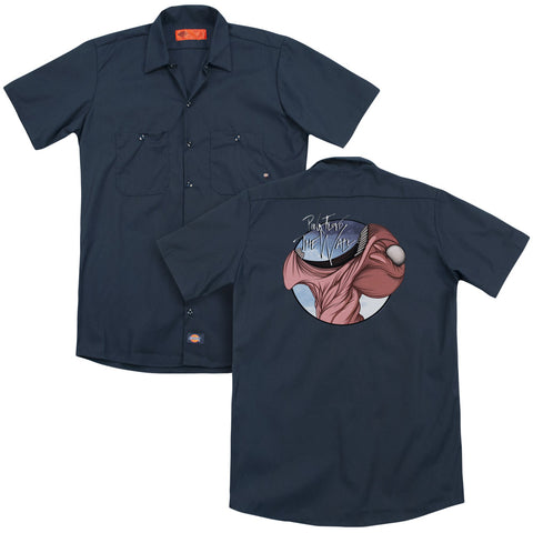 Pink Floyd Special Order Open Wide (Back Print) Men's 35% Cotton 65% Poly Short-Sleeve Work Shirt