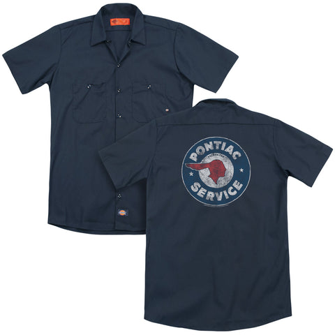 Pontiac Vintage Pontiac Service (Back Print) Men's Cotton Poly Short-Sleeve Work Shirt