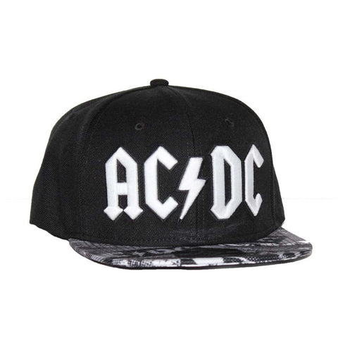 AC/DC Black Wool Blend Flat Bill Hat with Sublimated Visor