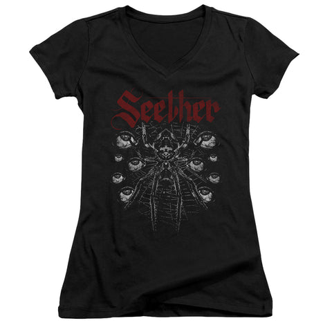 Seether Arachnoid Junior's 30/1 Cotton Cap-Sleeve V-Neck T