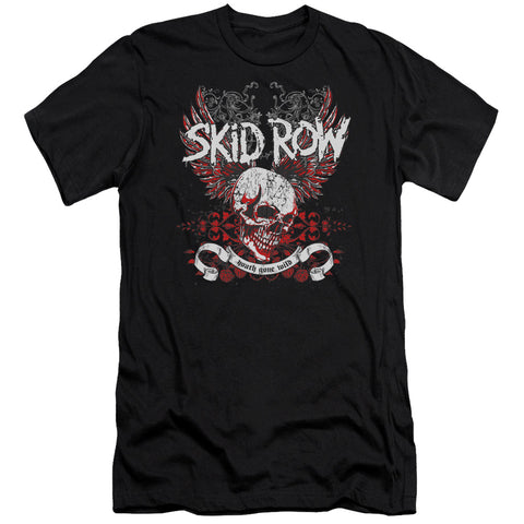 Skid Row Special Order Winged Skull Men's 30/1 100% Cotton Slim Fit Short-Sleeve T-Shirt