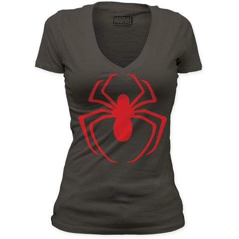Spider-Man Red Logo Women's Premium Soft Deep V-Neck T-Shirt