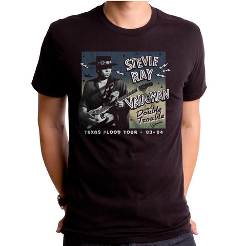 Stevie Ray Vaughan Srv And Double Trouble Black S/S Men's Crew T-Shirt