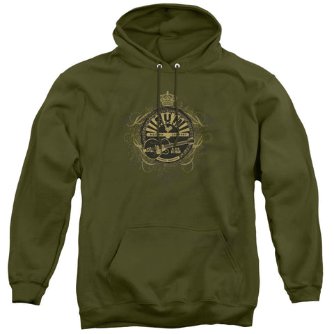 Sun Records Rock Heraldry Military Green Men's Pull-Over 75 25 Poly Hoodie