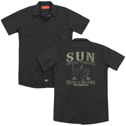 Sun Records Special Order Rockabilly Bird(Back Print) Men's 35% Cotton 65% Poly Short-Sleeve Work Shirt