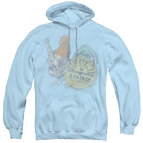 Sun Records Rockin Rooster Light Blue Men's Pull-Over 75 25 Poly Hoodie