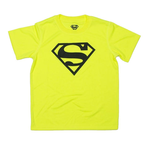 Superman Logo Neon Yellow Youth T-Shirt