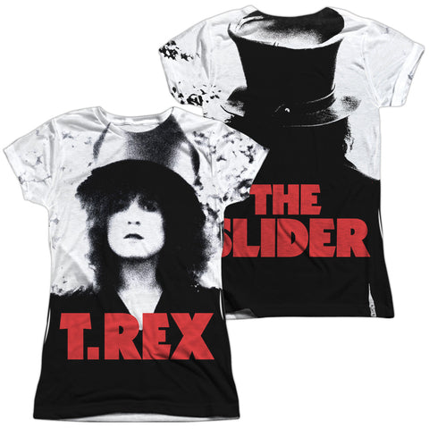 T Rex Special Order The Slider Cover (Front/Back Print) Junior's 100% Polyester Cap-Sleeve T-Shirt