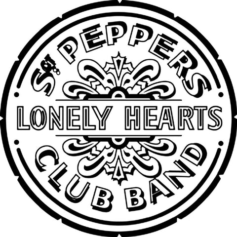 The Beatles Sgt. Pepper's Lonely Hearts Club Band Rub-On Sticker - Black