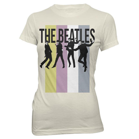 The Beatles Stripes Standing Group Women's Tapered T-Shirt