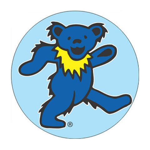 The Grateful Dead Blue Dancing Bear Blue Background Button