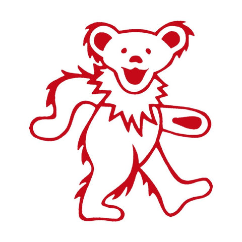 The Grateful Dead Dancing Bear Rub-On Sticker - Red