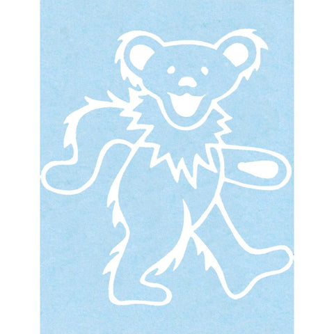 The grateful dead dancing bear rub on sticker white