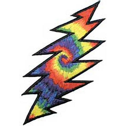 The Grateful Dead Lightning Bolt Tye Dye Embroidered Patch