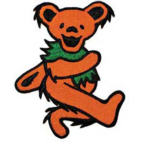 The Grateful Dead Orange Dancing Bear Embroidered Patch