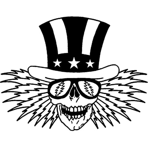 The Grateful Dead Uncle Sam Rub-On Sticker - Black