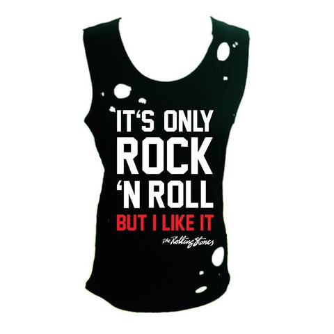 The Rolling Stones Its Only Rock And Roll Destroyed Women's Tapered Tank T-Shirt