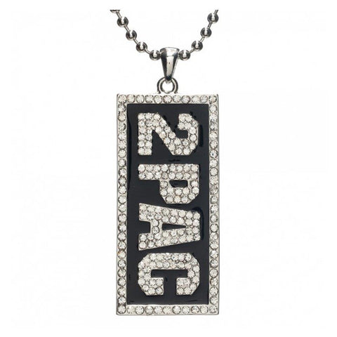 Tupac Bling Dog Tag Necklace