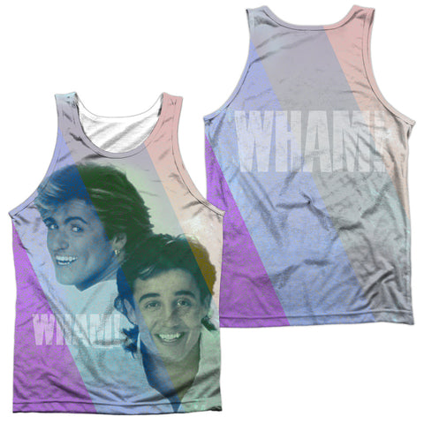 Wham Special Order Pastel Lines (Front/Back Print) Men's Regular Fit 100% Polyester Tank Top