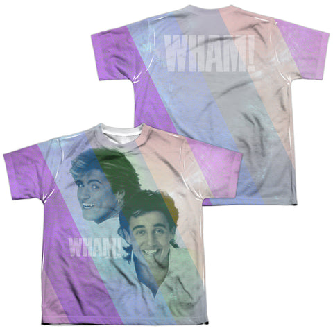 Wham Special Order Pastel Lines (Front/Back Print) Youth Regular Fit 100% Polyester Short-Sleeve T-Shirt