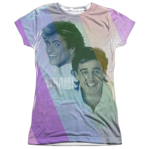 Wham Special Order Pastel Lines Junior's 100% Polyester Cap-Sleeve T-Shirt
