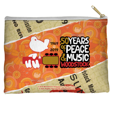 Woodstock 50 Year Ticket Accessory Pouch Spun Polyester straight bottom